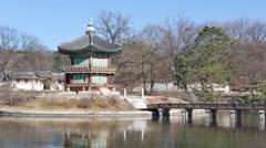 Hyangwonjeong pavilion in Gyeongbokgung. Stock Footage