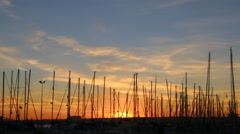 Colors of sunset over the yacht port, Timelapse Stock Footage