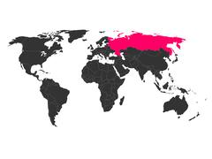 World map with highlighted Russia Piirros