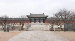 Myeongjeongmun gate and Okcheongyo bridge Stock Footage