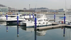 Ara Marina Yachts dock in Gyeongin Ara canal Stock Footage