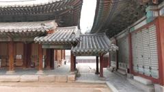 Roofed corridor in Changgyeonggung. Stock Footage
