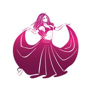 Dancing woman in expressive pose. flat silhouette Stock Illustration