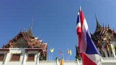Wat Yannawa temple with thai flag Stock Footage
