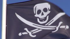 Pirate flag waving in the wind Stock Footage