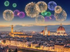 Fireworks under Arno River and Ponte Vecchio Stock Photos