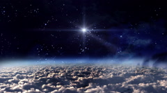 the mystery of stars glowing in space night - stock footage