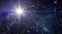 star lens flare in space blue color - stock footage