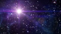 Stock Video Footage of star lens flare in space color