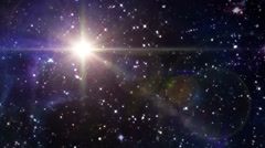 Stock Video Footage of star lens flare in space yellow