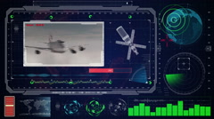 Futuristic blue virtual graphic touch user interface HUD. Boeing plane on radar Stock Footage