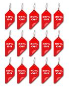 Red Curled Discount Tags Stock Illustration