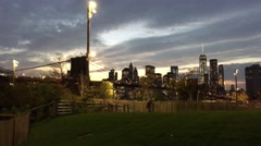 NYC Brooklyn Bridge Park at Night Stock Footage