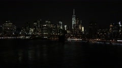 Stock Video Footage of NYC Downtown Manhattan Lights over East River