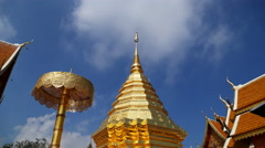 Wat Phrathat Doi Suthep temple with blue sky in Chiang Mai province, Thailand Stock Footage