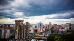 Timelapse of beautiful cloud and sky on cityscape background in Novosibirsk Stock Footage