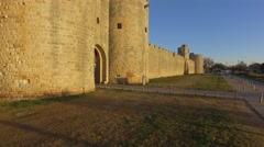 Medieval town of Aigues-Mortes, Camargue, Gard, France in the morning by drone Stock Footage