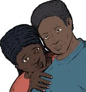 Loving Black Couple - stock illustration