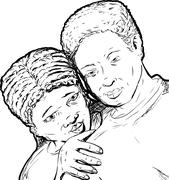 Black Couple Outline - stock illustration