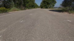 Flight over a road next to the Durance river, Provence, France Stock Footage