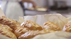 Fresh pastries, patties in the kitchen Stock Footage