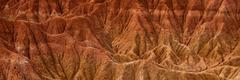 Detail of Drought red orange sand stone rock formation in Tatacoa desert, Huila - stock photo