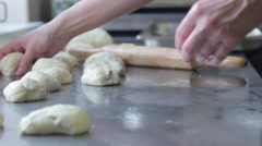 Chef makes flat patties with meat Stock Footage