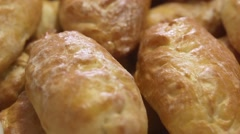 Fresh pastries, patties Stock Footage