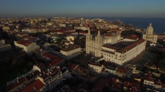 Aerial View of Alfama, Lisbon, Portugal Stock Footage