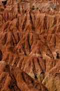 Closeup of Drought red orange sand stone rock formation in Tatacoa desert, Huila - stock photo