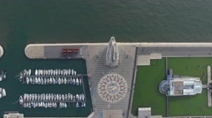 Top View of Monument to the Discoveries and Huge Compass Rose, Lisbon, Portugal Stock Footage
