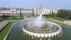Aerial View of the Fountain located in Empire Square in Belem, Lisbon, Portugal Stock Footage