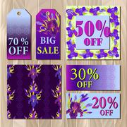 Big sale printable card template with purple iris flower design. Stock Illustration