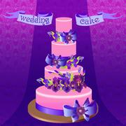 Wedding cake with purple iris flower design. Vector illustration. - stock illustration