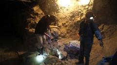 Bolivian miner works inside Cerro Rico mine Stock Footage