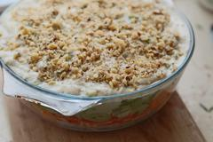 Baked casserole with nuts - stock photo