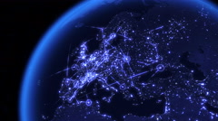 Global communications through the network of connections over Europe Stock Footage