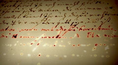 Old texts. Page of alchemical manuscript. Burning words. - stock footage