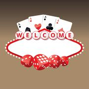 Welcome sign with four aces cards and playing dices Stock Illustration