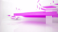 Abstract white interior with purple accents. 3D rendering - stock footage