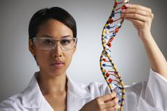 Female Scientist Studying Molecular Model In Shape Of Helix - stock photo