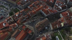 Aerial View of Alfama with Sao Jorge Castle, Lisbon, Portugal Stock Footage