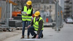 Construction workers on site - stock footage