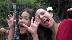 Mother and Daughter Acting Silly - stock footage