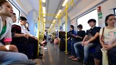 Bangkok train BTS Airport Rail Link interrior Stock Footage