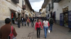 People on the street in the center of Cuzco Stock Footage