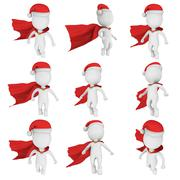 Santa Claus Brave Superhero Flying Set Stock Illustration