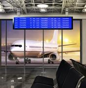 Cancelled flight in winter storm Stock Photos