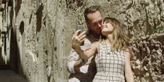 Stock Video Footage of Romantic couple taking selfie with smartphone