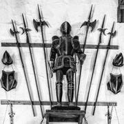 Medieval armor exposed with metal halberds. Stock Photos